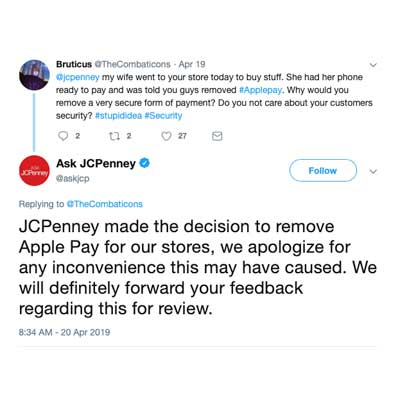 93ec0ef3bef0 An image capture of a tweet shows JCPenney s response to a consumer asking  why Apple Pay didn t work in a local store.